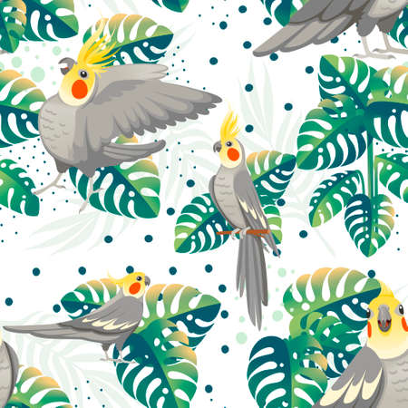 Seamless pattern of adult parrot of normal grey cockatiel (Nymphicus hollandicus, corella) and tropical green leaves cartoon bird design flat vector illustration on white background.