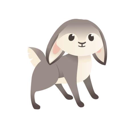 Cute grey rabbit stand on ground cartoon animal design flat vector illustration isolated on white background. Ilustração
