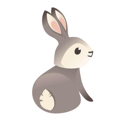 Cute grey rabbit sitting on ground cartoon animal design flat vector illustration isolated on white background.