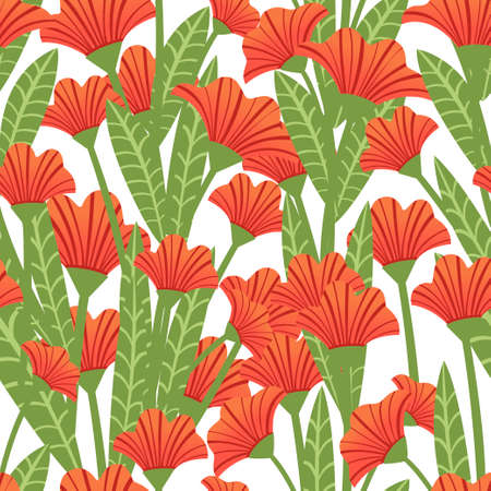 Seamless pattern red poppies plant of red flowers flat vector illustration on white background.