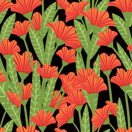 Seamless pattern red poppies plant of red flowers flat vector illustration on dark background. Illusztráció