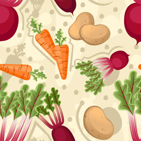 Seamless pattern of vegetables carrot potato and beet flat vector illustration on stylized background.