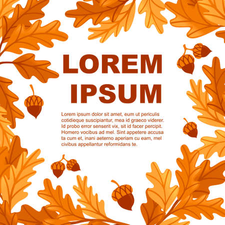 Flyer design with various oak autumn leaves with acorn flat vector illustration on white background.