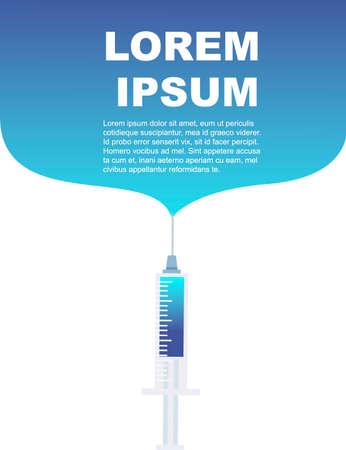 Medical syringe with blue liquid medical greetings card design vertical banner flat vector illustration on white background. Illusztráció