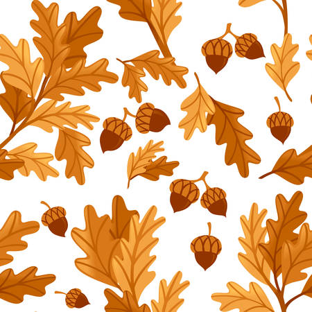 Seamless pattern various oak autumn leaves with acorn flat vector illustration on white background. Ilustracja