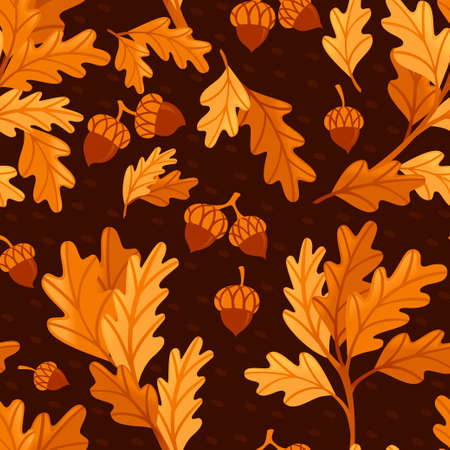 Seamless pattern various oak autumn leaves with acorn flat vector illustration on dark background.