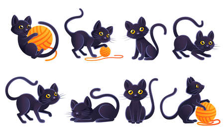 Set of cute adorable black cat playing with orange ball of wool cartoon animal design flat vector illustration on white background. Illustration