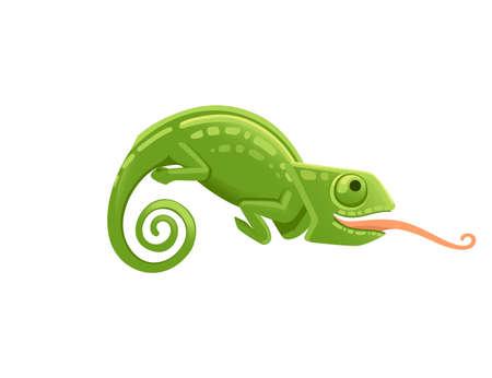 Ładny mały zielony kameleon z otwartymi ustami i długim językiem jaszczurka kreskówka projekt płaski wektor ilustracja na białym tle.