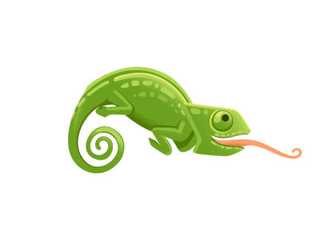 Cute small green chameleon with open mouth and long tongue lizard cartoon animal design flat vector illustration isolated on white background. Illustration