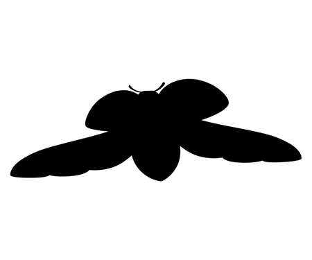 Black silhouette ladybug with open shell and wings flying beetle cartoon bug design flat vector illustration isolated on white background.