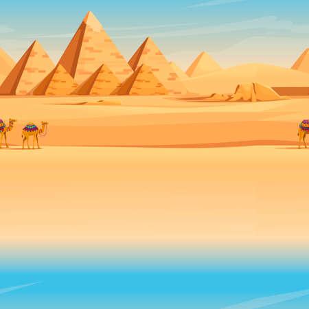 Giza Egyptian Pyramids desert landscape with camels flat vector illustration horizontal image.