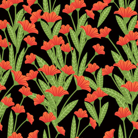 Seamless pattern red poppies plant of red flowers flat vector illustration on dark background. 矢量图像