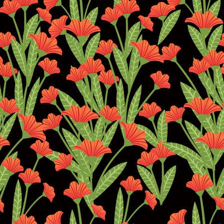 Seamless pattern red poppies plant of red flowers flat vector illustration on dark background. Ilustração