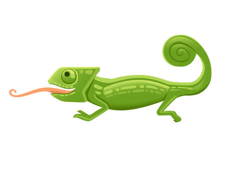 Cute small green chameleon with open mouth and long tongue lizard cartoon animal design flat vector illustration isolated on white background. Foto de archivo - 137603053