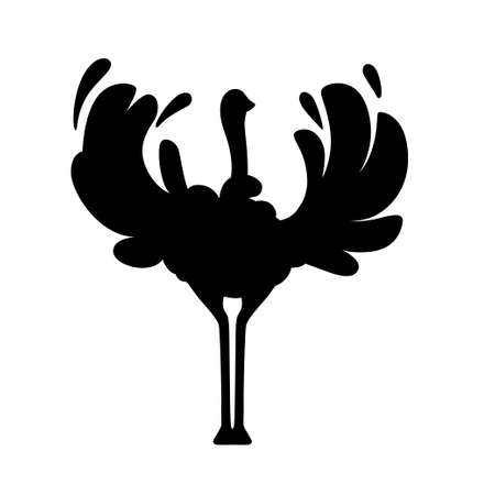 Black silhouette ?ute ostrich stay on two legs african flightless bird cartoon animal design flat vector illustration isolated on white background.