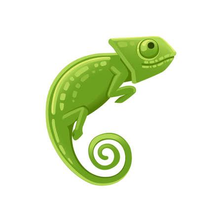 Cute small green chameleon lizard cartoon animal design flat vector illustration isolated on white background. Foto de archivo - 137603536