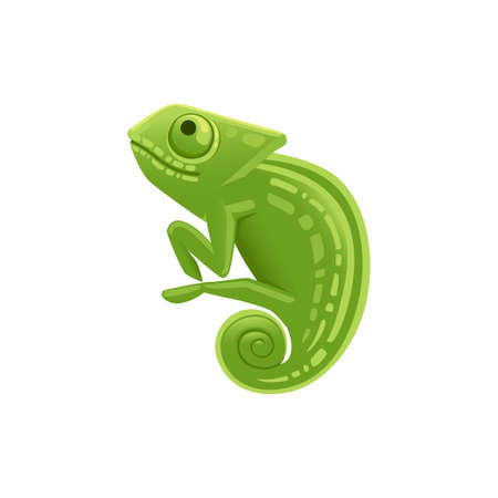 Cute small green chameleon lizard cartoon animal design flat vector illustration isolated on white background. Foto de archivo - 137603546