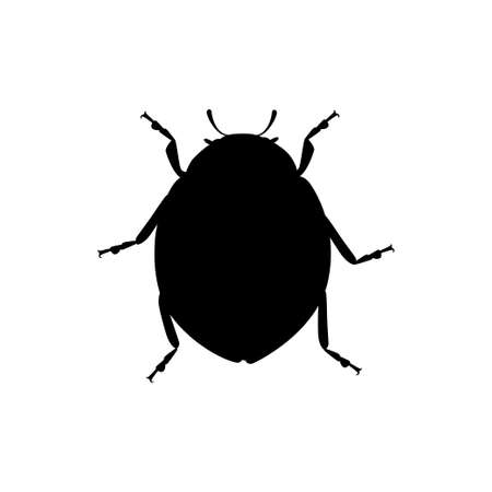 Black silhouette ladybug with closed shell beetle cartoon bug design flat vector illustration isolated on white background.