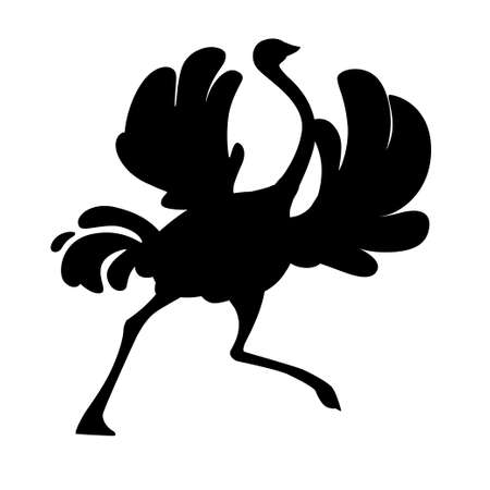 Black silhouette ?ute ostrich running african flightless bird cartoon animal design flat vector illustration isolated on white background.