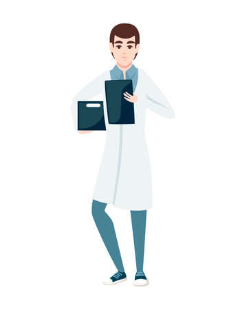 Man in white coat holding box and checklist or notepad cartoon character design flat vector illustration isolated on white background.