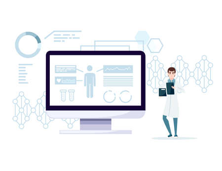 Abstract big monitor and small man in white coat holding box and checklist or notepad cartoon character design flat vector illustration on white background with data. Stock Illustratie