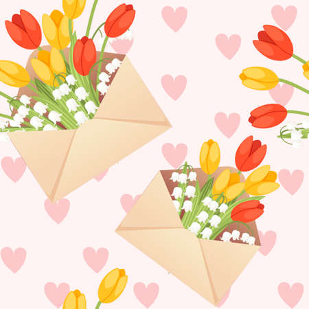 Seamless pattern of open eco friendly paper envelope with spring flowers creative design flat vector illustration on pink background with hearts.