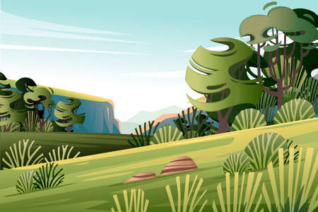 Green landscape with trees bushes plateau mountains bright sunny day flat vector illustration.