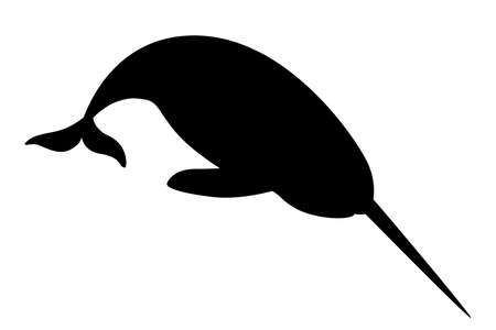 Black silhouette narwhal(Monodon monoceros) toothed whale with tusk cartoon sea character design flat vector illustration isolated on white background.