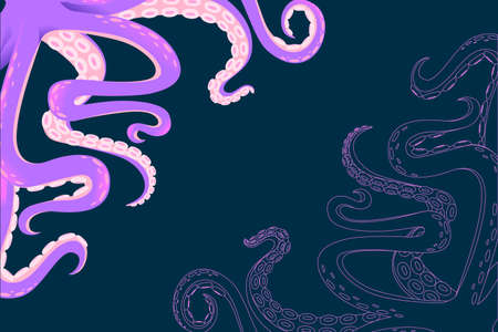Greetings card for flyer design with purple octopus tentacles horizontal flat vector illustration flat vector illustration on dark background. Çizim