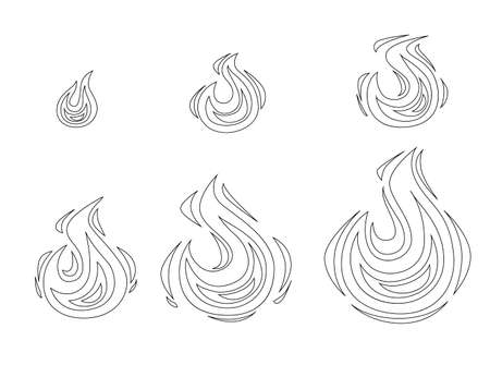 Outline style set of flame vector illustration isolated on white background Archivio Fotografico - 139629317