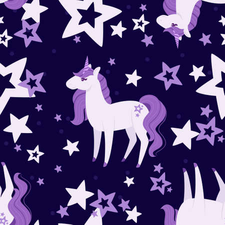 Seamless pattern of Magic mythical animal from fairy tale unicorn cartoon animal design flat vector illustration on dark background. Vetores