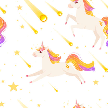 Seamless pattern of Magic mythical animal from fairy tale unicorn cartoon animal design flat vector illustration on dark background.