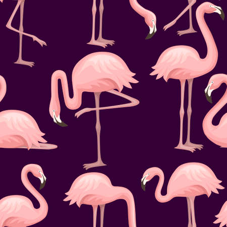 Seamless pattern of cute cartoon peach pink flamingo. Funny flamingo collection. Cartoon animal character design. Flat vector illustration on dark background. Archivio Fotografico - 139629353