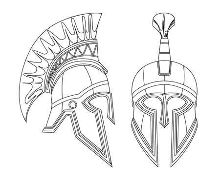 Greek spartan iron helmet with crest outline armor element design ancient helmet flat vector illustration isolated on white background.