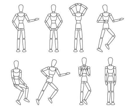Collection de mannequins en bois. Mannequin avec différentes poses. Style plat de dessin animé. Illustration vectorielle isolée sur fond blanc.
