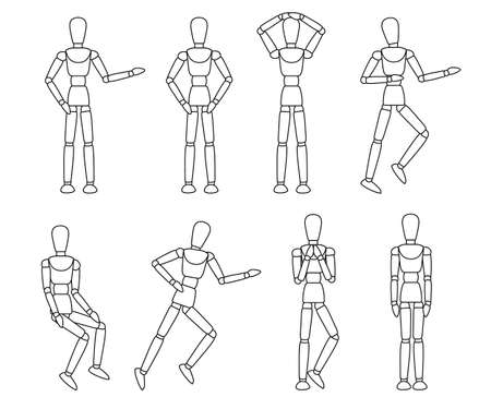 Wooden mannequin collection. Dummy with different poses. Cartoon flat style. Vector illustration isolated on white background. 일러스트