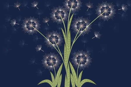 Dandelions flowers with flying seeds on dark blue background flat vector vertical illustration.