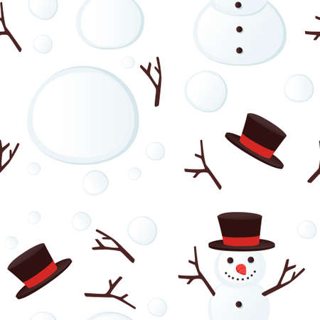 Seamless pattern happy snow man with black hat and smile flat vector illustration on white background. Archivio Fotografico - 139629375