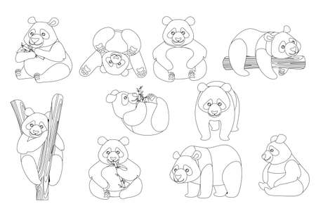 Set of cute big panda in different poses cartoon animal design outline style flat vector illustration. Archivio Fotografico - 139629378