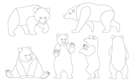 Set of Grizzly bears. North America animal, brown bear. Cartoon animal design. Flat vector illustration isolated on white background outline style.