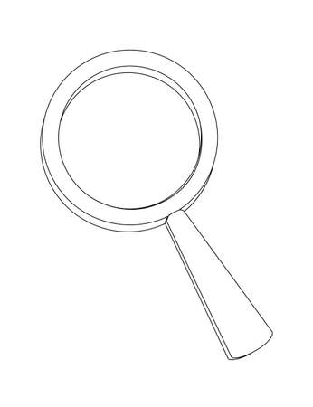 Magnifying glass with purple plastic case flat vector illustration isolated on white background. Archivio Fotografico - 139629379