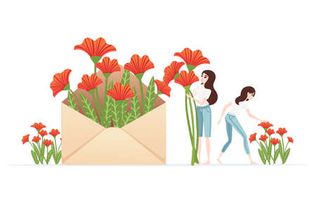 Paper envelope with red flowers and women picking flowers spring creative abstract design element flat vector illustration on white background. Archivio Fotografico - 140183480