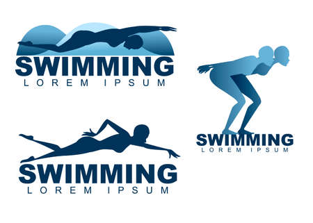 Swimming people logo female swimmer silhouette isolated on white