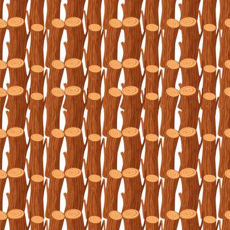 Seamless pattern of wooden logs Illusztráció