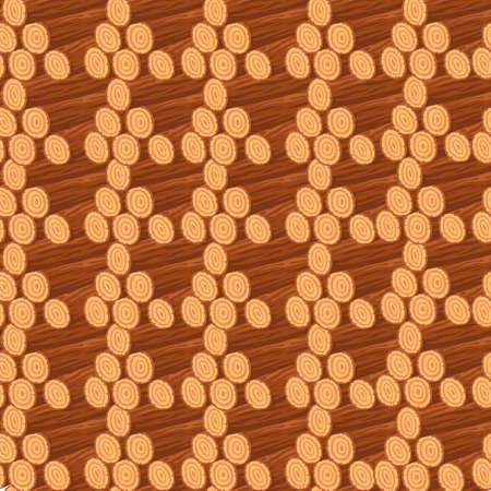 Seamless pattern of stacks wooden logs Illusztráció