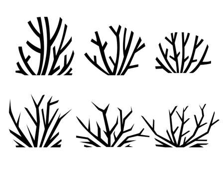 Black silhouette desert sand plants and thorns weed flat vector illustration isolated on white background.