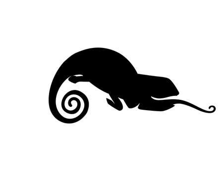 Black silhouette cute small chameleon lizard cartoon animal design flat illustration isolated on white background. Ilustração