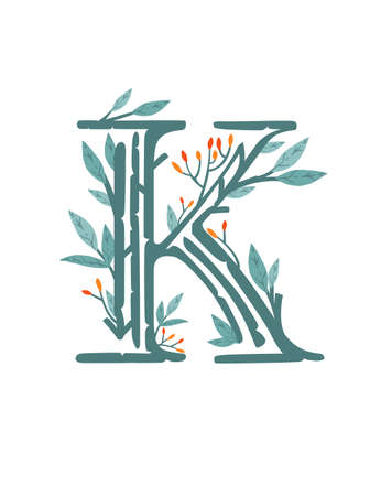 Letter K hand drawn tree branches with leaves and berries botanical flowers floral hand drawn scandinavian style art design element flat vector illustration. Ilustração