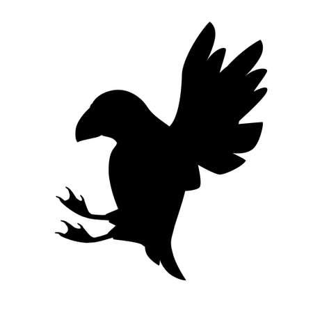 Silhouette noire volant macareux de l'Atlantique oiseau dessin animé animal design plat vector illustration isolé sur fond blanc.
