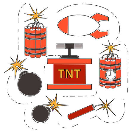 Explosive retro dynamite set for mining colorful icon collection flat vector illustration isolated on white background.